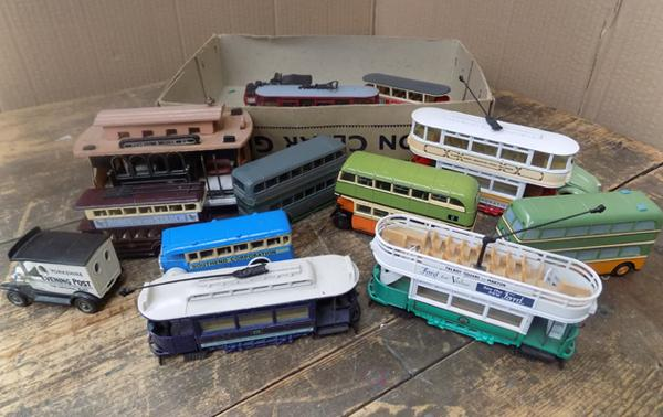 Assortment of diecast vehicles, incl. trams