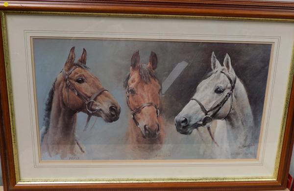 Framed three Kings horse picture