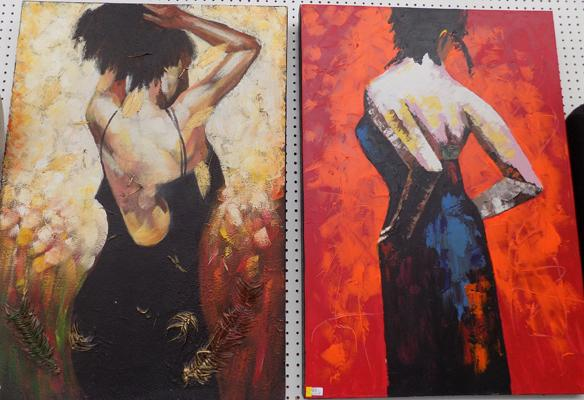 Pair of large contemporary paints on canvas