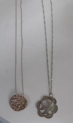 2x silver chains and pendants