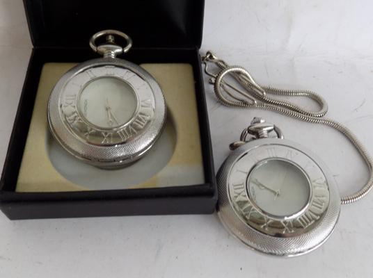 2x Sekonda pocket watches - VGC-one boxed, one with chain
