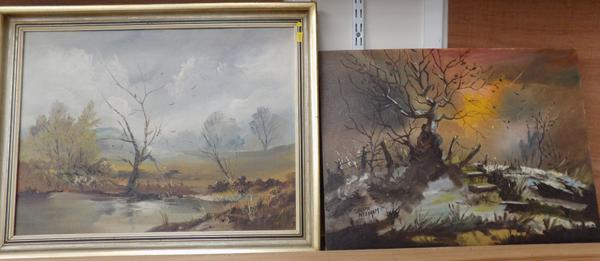 Two oil canvas board paintings (one framed) - signed Brian Needham 1978