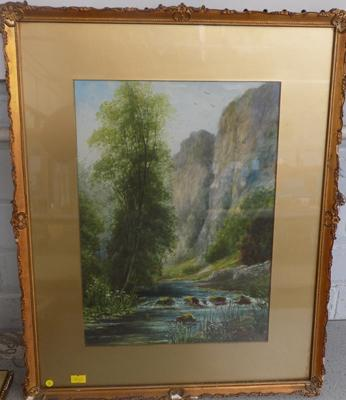Original watercolour signed by artist John Thorley, 1919 - woodland scene