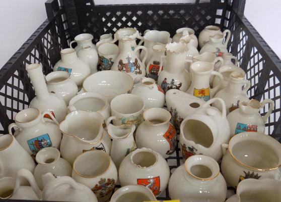 42x Crested Ware mainly Goss jugs/vase museum pieces - incl. Calcutta