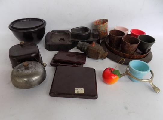 Collection of 1930's Bakelite items, marked to base, GB patent