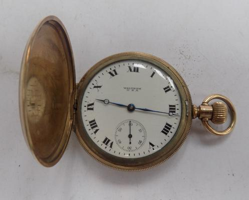 Gold plated top wind Waltham USA full hunter pocket watch
