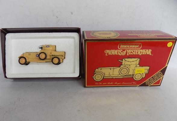 Boxed Matchbox, 1920, Rolls Royce armoured car with certificate