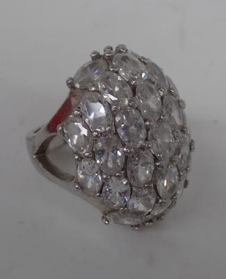 Silver large cluster ring