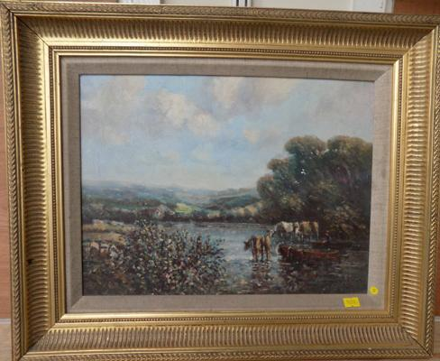Genuine oil painting signed by Laszlo Ritter - late scene