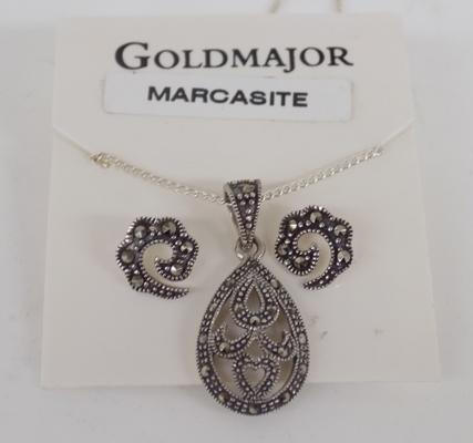 Silver and marcasite necklace and earring set