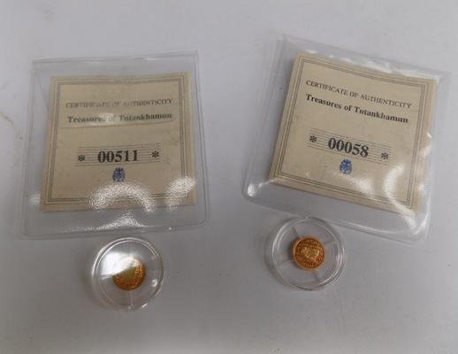 Two Egyptian 14ct gold coins with certificate of authenticity