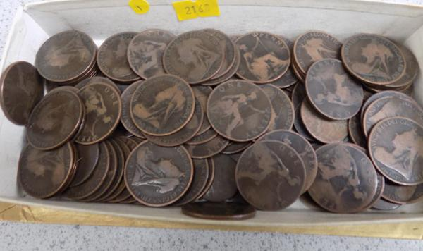 Tub of Victorian old head copper coins