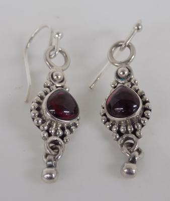 Pair of Indian 925 silver earrings with stones
