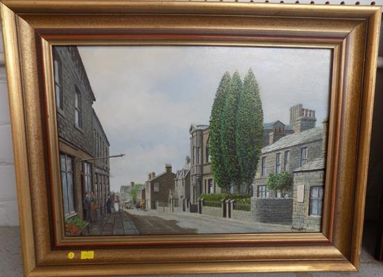 "Framed oil painting of Horsforth by David Hey - approx. 18"" x 22"""