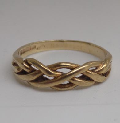 9ct gold plaited ring - size K