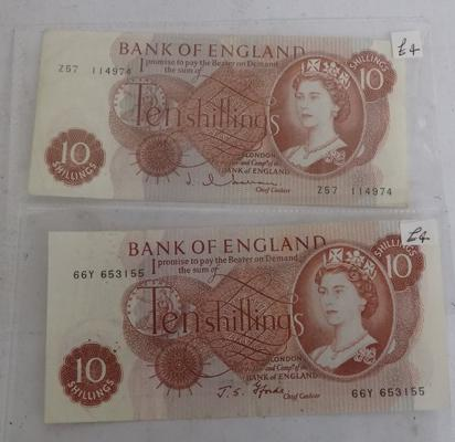 2 x 10 shilling notes