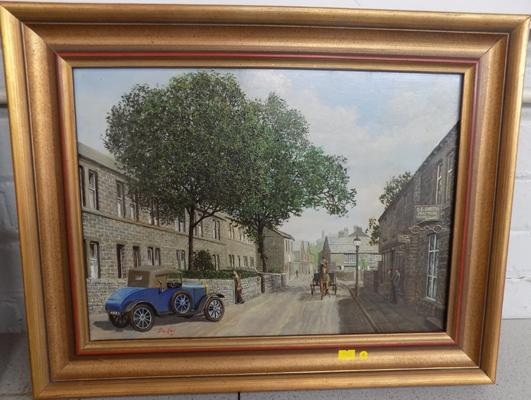 "Framed oil painting of Horsforth by David Hey - approx.18"" x 22"""