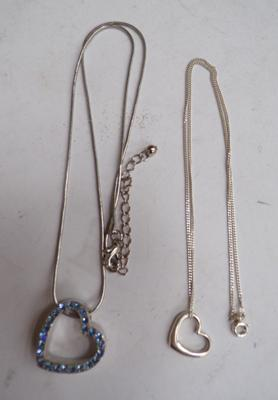 2 x silver necklaces with hearts