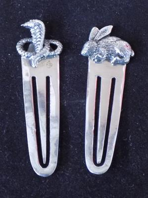 Two sterling silver bookmarks with rabbit & snake