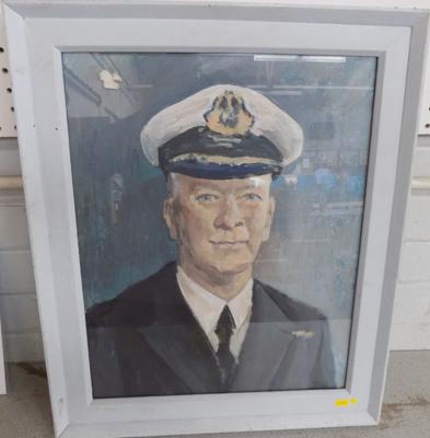 Acrylic painting on board-Naval Officer (painted frame) possibly 1950's