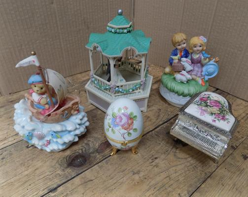 Selection of musical boxes and trinket box