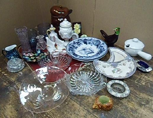 Large amount of glass and ceramics incl. Copeland and Portmadoc