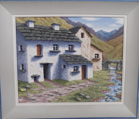 Built up using materials 3D Moorland cottage scene signed by Madge Pyle - no damage