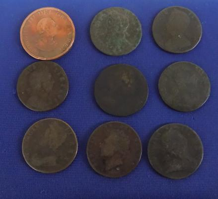 Early English copper coins x 9 - 1694-1826