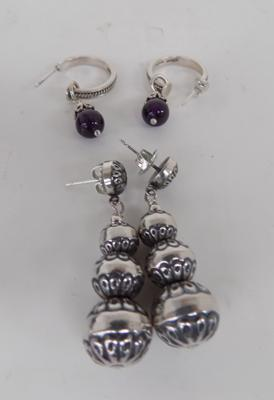 2 pairs of Indian silver 925 earrings