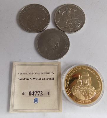 Selection of collectable coins, incl. Churchill