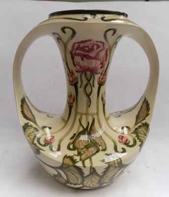 "Cobridge pottery twin handled vase decorated by and signed by Kerry Goodwin - Florian Rose style 28"" high"