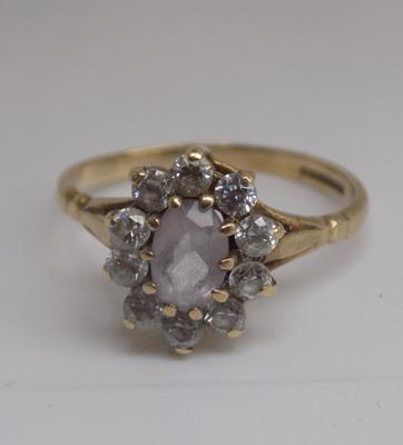 9ct gold amethyst cluster ring - size L 1/2