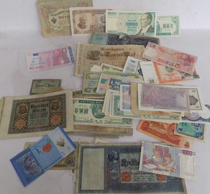 Assortment of foreign bank notes, incl early German, Hungarian