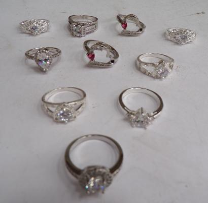 10 silver rings - various sizes