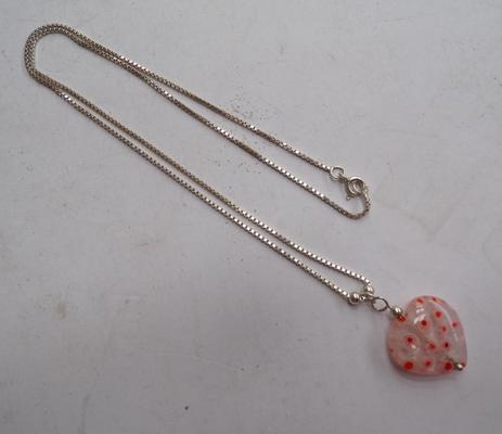 Silver necklace with glass heart