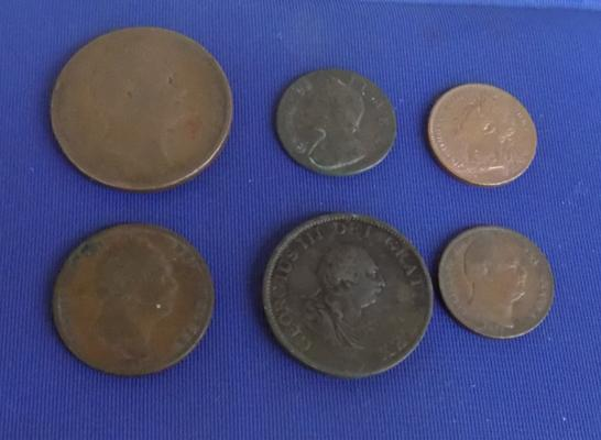 Selection of early copper coins