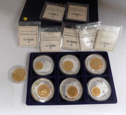 Collection of gold plated British collectable coins with certificates