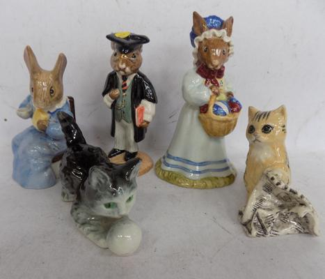 Five collectable figures, incl. Royal Albert Cottentail, Royal Doulton Bunnykins, Goebel - no damage found