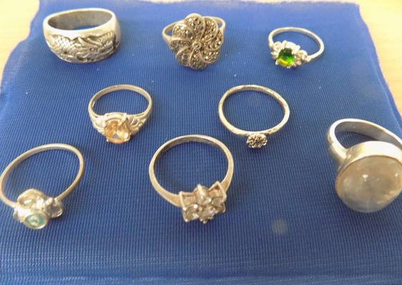 8x rings mostly silver inc silver dragon ring