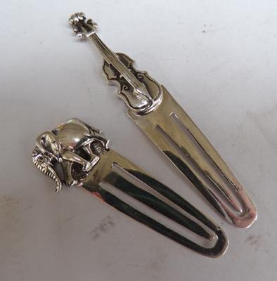 Two sterling silver bookmarks with elephant & cello
