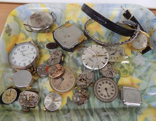 Tray of watches & parts