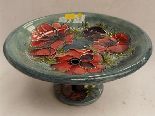 Moorcroft Compote footed pedestal bowl - blue signature on the base