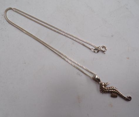 Silver necklace with silver seahorse