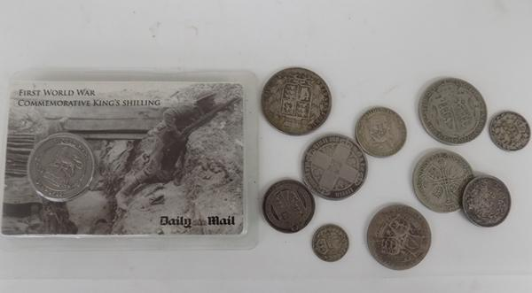 Selection of coins inc commemorative shilling