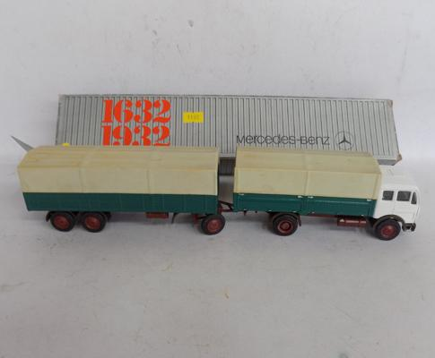 Mercedes truck & trailer diecast collector's set, boxed 1/50 scale, No. 146, made in West Germany