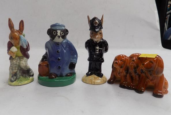 Collection of Royal Doulton and Beswick figurines - Billie Bunnykins damaged ear and Wade badger