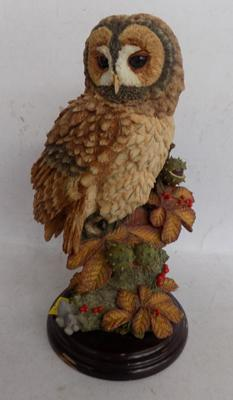 Country Artists premier collection - No. 01234, no damage, Tawny owl with horse chestnuts - hand painted, signed issue, 10 inches