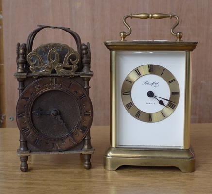 Vintage 1950's Smiths brass lantern clock, 7 x 3 inches + brass cased carriage clock, Blandford, West Germany