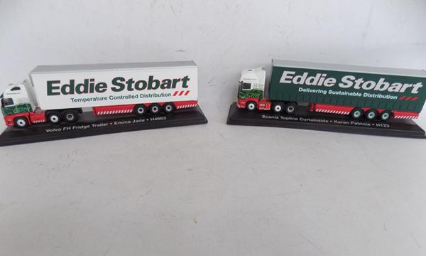 2 large scale boxed Eddie Stobart trucks - Volvo - Scania