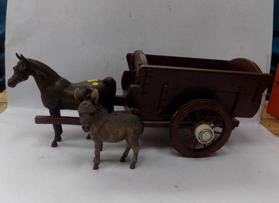 Wooden horse & cart with Arab horse & donkey